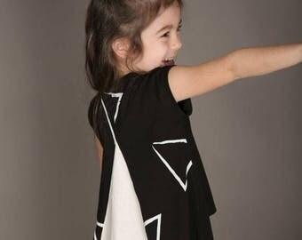 SALE Summer girls outfit Triangle Print Boho Top Shirt 100% Organic Cotton Girls oversize top MayaYa
