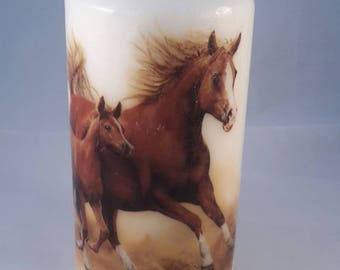 Decorated horse candle - horse lover gift - horse decor - pillar candle - animal candle - horse rider gift - western decor