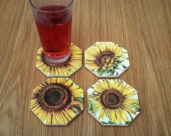 Sunflower coasters - floral drink coaster - sunflower deco - sunflower decor - gardener gift - sunflower lover gift - best selling item