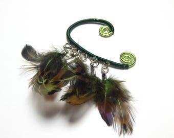 Feather Ear Cuff, Wire Ear Cuff, BOHO Feather Cuff, Gypsy Jewelry, Hippie Jewelry