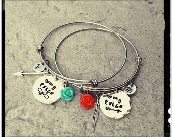 Love My Tribe - Charm Bangle//Stainless or Silver Plated//Hand Stamped Charms//Initials//Feather//Arrow//Rose - Choose Color - Friend/Family