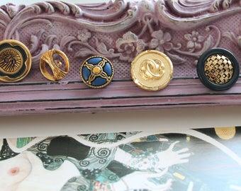 Buttons x 5 size 2.3 cm diameter 1.7 cm, color blue and gold buttons bag 285