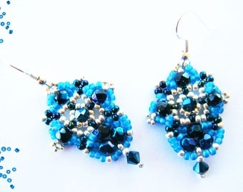 Woven earrings, Periwinkle Blue seed beads and faceted