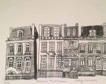 French Townhouses - a REPRODUCTION print of my original Dry Point Etching Print.