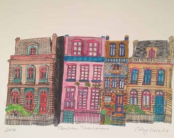 Parisian Townhouses - Colour version - a Reproduction print from one of my original Dry Point Etching