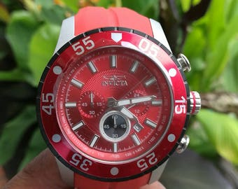 Invicta Men's 50mm Red Pro Diver Quartz Chronograph Silicone Strap Watch #60