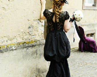 Black wedding dress, style baroque, taffeta fabric and lace with pearls