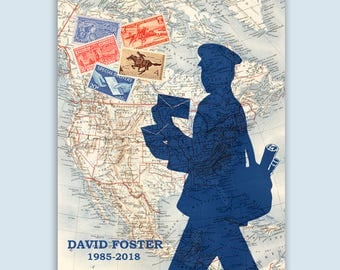 Mailman Print, Postman map stamps poster, Postal worker, PERSONALIZED Postman gift, postal worker retirement gift, post office decor