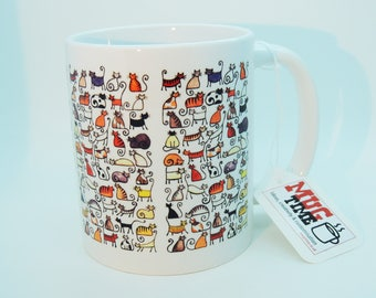 Cats Draw Pattern - Cute Coffee Mug Cup - Pet Cat Lovers - Ceramic 330ml