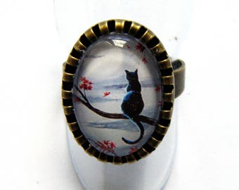 """Oval Ring """"dreamy cat in the Moonlight"""""""