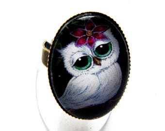 "Oval Ring ""little OWL and purple hibiscus flower"""
