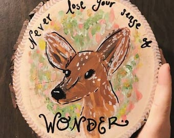 Wooden Fawn Painting