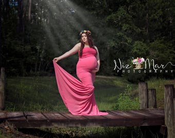 BANDEAU Top CLOSED Fitted Slim Jersey/Chiffon Dress/Gown/Plus Pregnancy Streetwear/Maternity Photo Dress/Baby Shower/FamilyPhoto Shoot