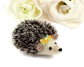 Hedgehog Brooch, Needle Felted Hedgehog, Hedgehog Charity Brooch, Hedgehog Jewellery, Hedgehog Badge, Hedgehog Pin, Hedgehog Lovers