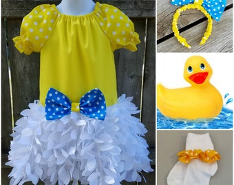 Rubber Duckie Birthday, Rubber Duckie Costume, First Birthday Outfit, Halloween Costume, Disney Daisy Duck Outfit, Daisy Duck Dress up