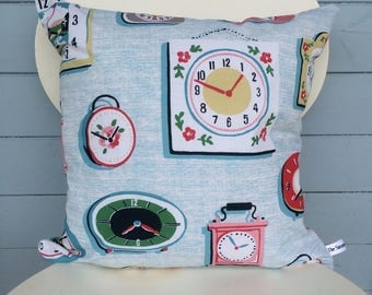 Clocks Pillow, Double Sided Clocks Cushion, Cath Kidston fabric, Home Decor, Kids Bedroom gift, christmss gift, gift for mom.