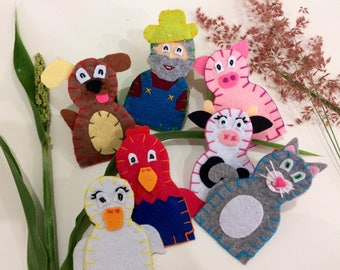 Old MacDonald and 6 animal friends felt finger puppets