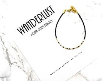 WANDERLUST morse code bracelet, wanderlust jewelry, travel jewelry, minimalist friendship bracelet, dainty delicate personalized bracelet