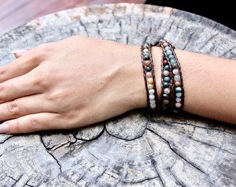 Triple Wrap Bracelet, Multi Agate Bracelet, Boho Bracelet, Beach Jewelry, Beaded Necklace, Wrap Anklet, Casual Beaded Jewelry,(A/B6)