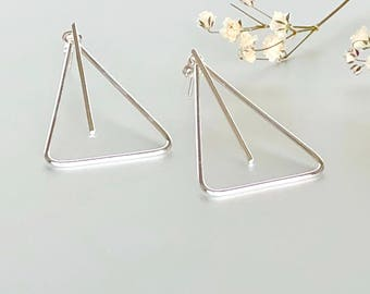 Sterling Silver Dangle Earrings, Silver Triangle Earrings, Bohemian Jewelry, Funky Earrings, Gift Earrings, (E149)
