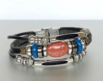 Sandstone And Leather Bracelet, Boho Black Leather Bracelet, Unisex Leather Bracelet, Gift Bracelet, LO81