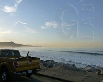 Instant Digital Download. The lovely beach of Malibu, sunrise on the Pacific Ocean. Surf California USA