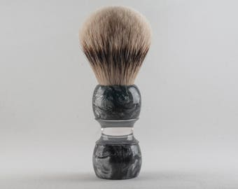 Shaving Brush - Black Anvil - Silver Violin. Silvertip knot