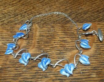 Volmer Bahner Denmark Blue Enamel Leaf Bracelet