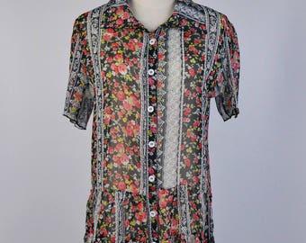 Vintage Blouse, Flower Vintage Print Flat Collar Short Sleeves Black Women Blouse Size S-M