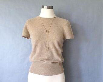 20% off using coupon! vintage cashmere sweater/ short sleeve/ minimalist cashmere top/ women's size S/M