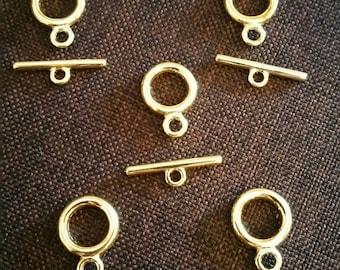 Set of 5 toogles gold metal clasps