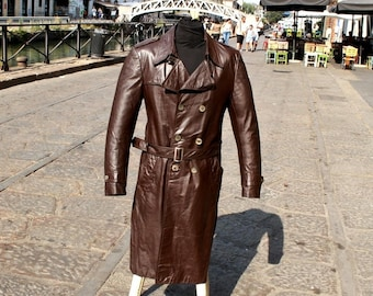 Brown vintage leather trench coat double breasted years original 70 sz M