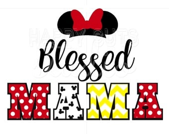 Blessed Mama Disney Mickey/Minnie Hat Mom Family Matching Vacation Classic Red Yellow White Mickey Mouse Disney Iron On Decal Vinyl 4 Shirt