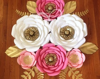 6 piece paper flowers, nursery flowers, nursery decor, birthday decor, paper flowers