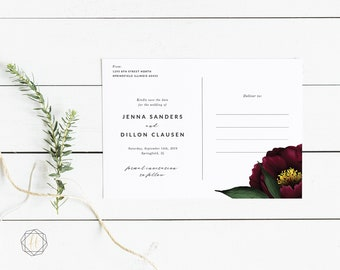 Save the Date, Save the Date Postcard, Marsala Wedding, Burgundy Wedding, Save the Date Printable, Save the Date Card, Rustic Wedding, #BPS