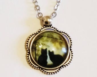 Beautiful Witchy Black Cats Pendant