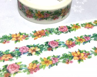 Classic flower Washi tape 7M x 1.5cm pretty wild flower Vibrant flower Masking tape flower drawing sticker tape flower decor gift