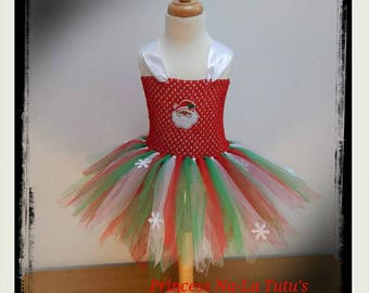 Christmas Dress - Snowflakes Tutu - Santa Little Girl - Mrs Claus Outfit -Red, Green and White Tutu Dress -Christmas Party Dress -Photo Prop