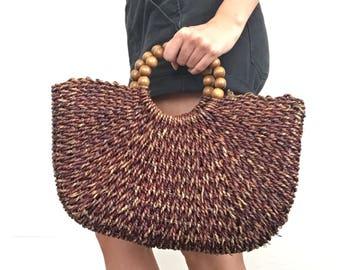 Wood & Straw Handbag
