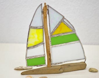 Sailboat with sails from Tiffany glass, sailing ship, decorative ship, boat, driftwood, driftwood boat, driftwood ship