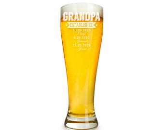 Grandpa's Established Date Personalized Pilsner Galss Engraved - Holiday Gift - Birthday Gift -DG32-B2-PIL19416