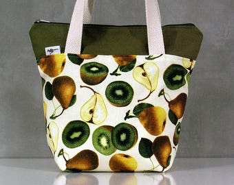 20% OFF [ Orig. 19.99 ]  Pear & Kiwifruit Lunch bag, Waterproof tote, Canvas Cotton Lunch bag, Reusable Lunch bag, Handmade bag, Tote, Gift