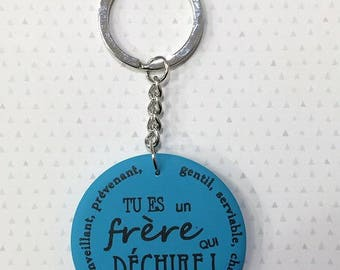 """Brother keychain """"My brother who rocks"""""""