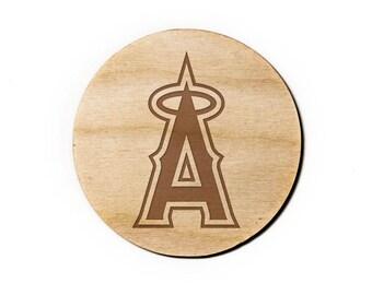 Los Angeles Angels Engraved Birch Coasters