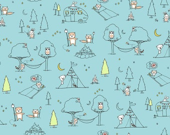 Ink & Arrow Camp S'More, Animal Camp Scenic in Teal,  Camping Quilt, Modern Quilt, Modern Fabric, Fun Fabric