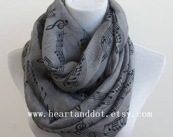 gray music scarf, music notes, Music gifts, music sheets, piano shawl, piano gifts, piano teacher gift, panist gift, for her, white scarf