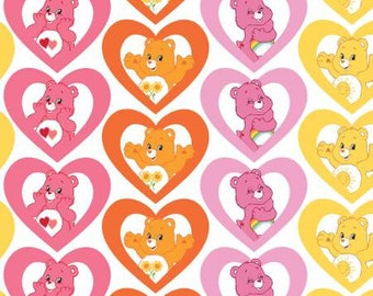 Pink Care Bears Warm Hearts Cotton fabric from Camelot Fabrics 44010105-1 America Greetings fabric by yard metre quilting licensed