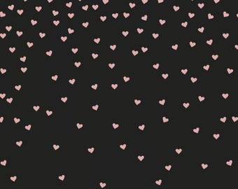 Yes Please Rose Gold Hearts on Black by Jen Allyson for Riley Blake SC6551R-ROSEG quilting cotton metallic fabric material by the yard metre