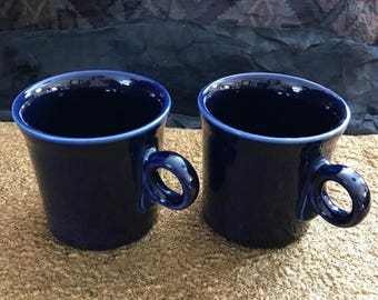 SALE Vintage 2 Fiesta Cobalt Blue Mugs USA