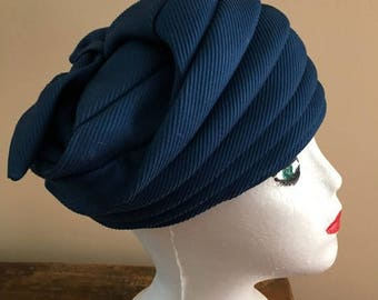 SALE Vintage 1950s Blue Turban Style Harmonica Hat or a Bucket Hat with a Bow Design